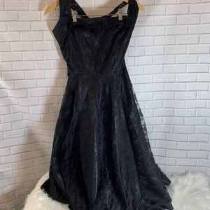 Hell Bunny Vixen Motley Black Lace Halter Dress
